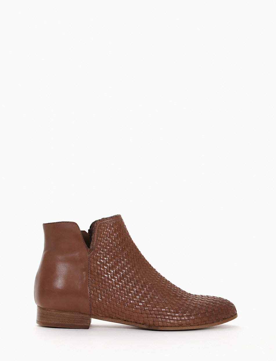 Low heel ankle boots heel 1 cm brown leather