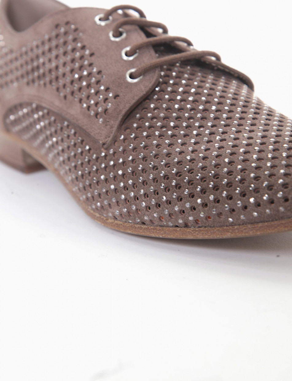 Lace-up shoes heel 2 cm beige chamois