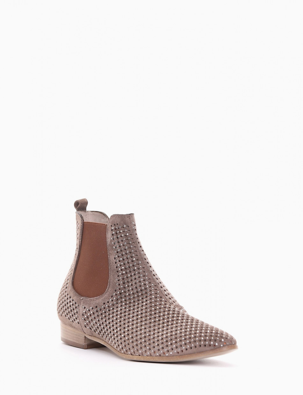 Low heel ankle boots heel 2 cm beige chamois