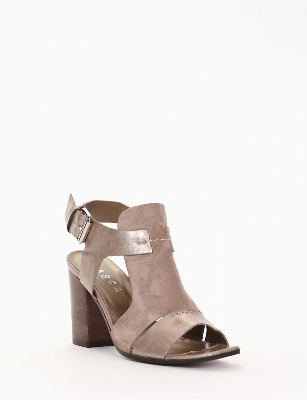 High heel sandals heel 8 cm beige leather
