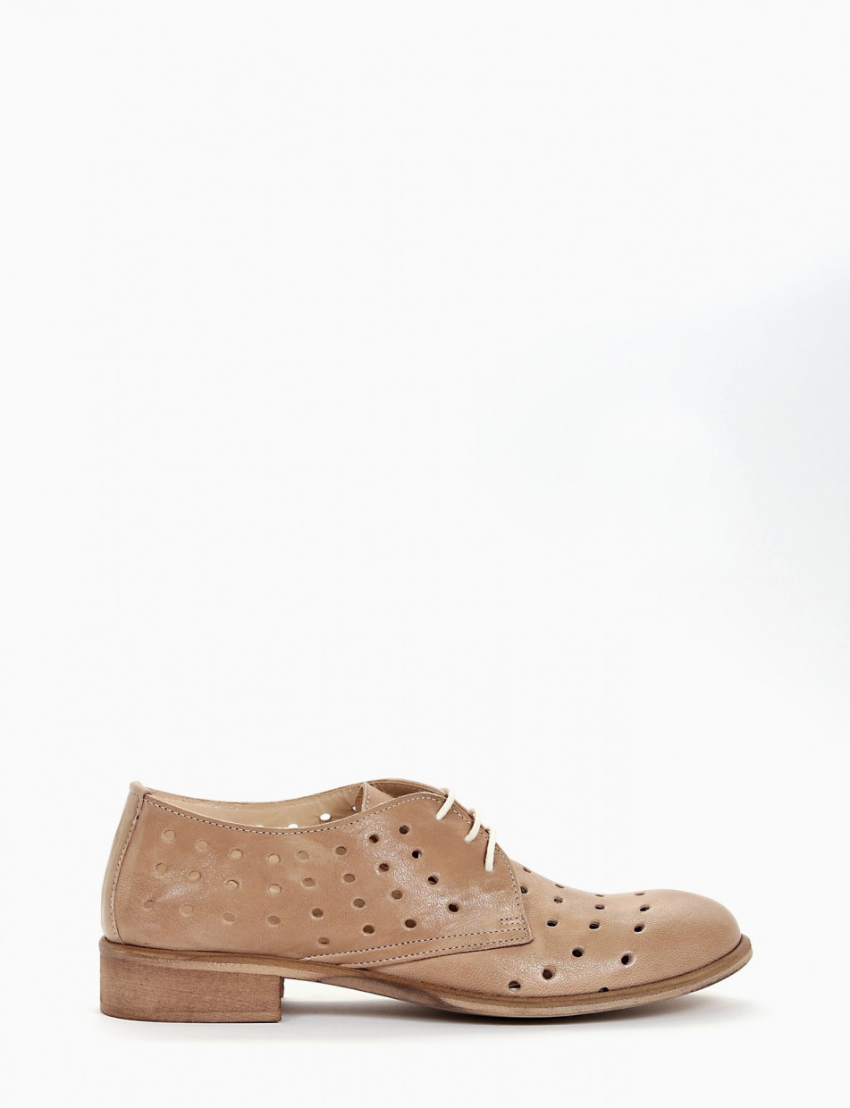 Scarpa no-lace tacco 2 cm in pelle beige   Barca Stores
